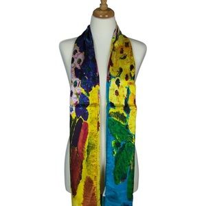 Multicolor Flowers Soft Mulberry Satin Silk Scarf